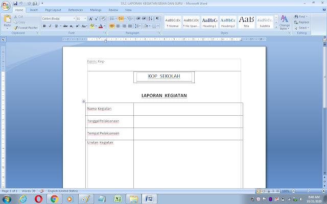 Contoh laporan kegiatan siswa dan guru di sekolah