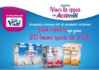 """Logo Concorso """" Vinci la spesa con Actimel """" : ogni giorno 20 buoni spesa da 20€"""