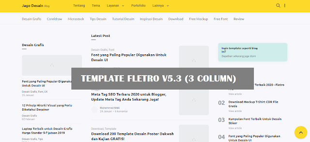 Download Fletro Blogger Template SEO Responsive Terbaru 2020 v5.3