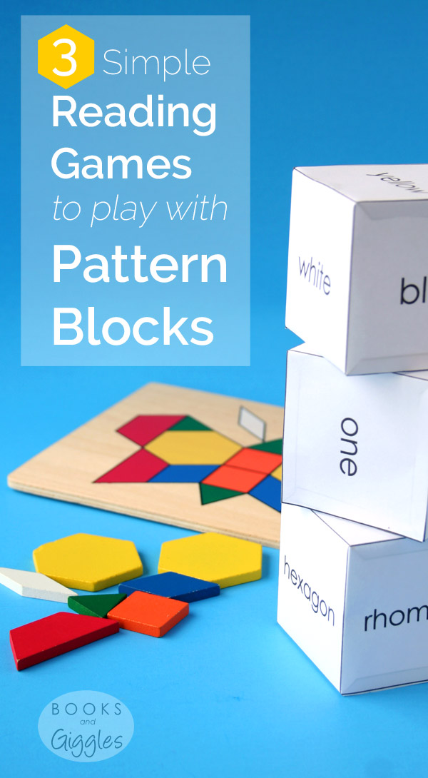 Pattern Blocks, Literacy| Free printable reading games that use pattern blocks