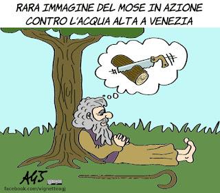 mose, venezia, acqua alta, prevenzione, disastri italiani, grandi opere, vignetta, satira