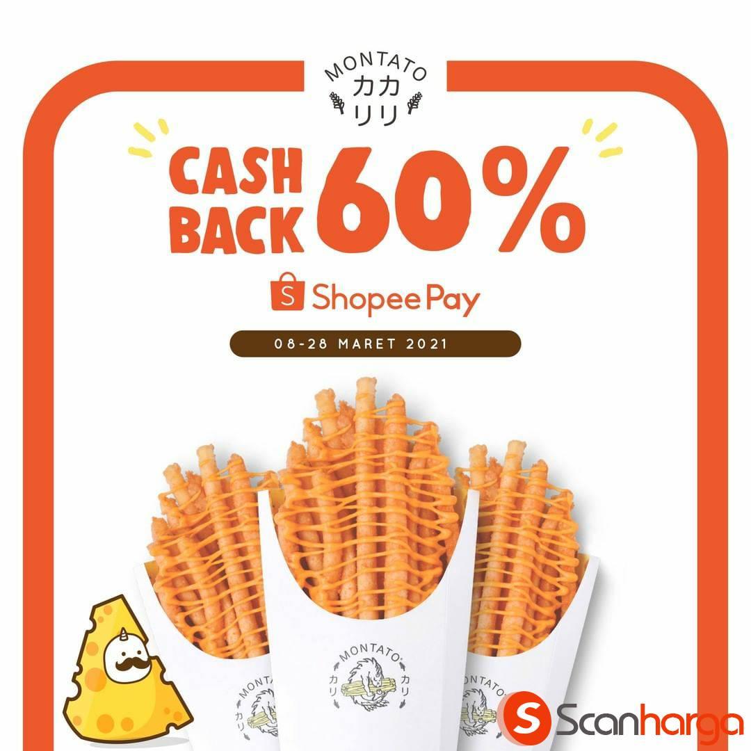 Promo MONTATO CASHBACK 60% Bayar Pakai SHOPEEPAY