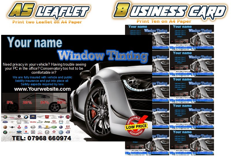 window tinting leaflets flyer business cards business start up pack