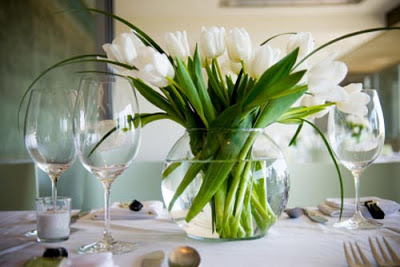 wedding centerpiece with white tulips