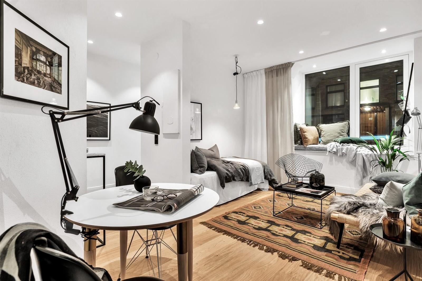 Amenajare practică și confortabilă pentru o garsonieră de numai 34 m²