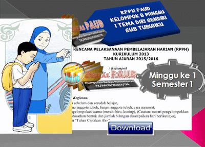 RPPH PAUD KELOMPOK B MINGGU 1 TEMA DIRI SENDIRI SUB TUBUHKU