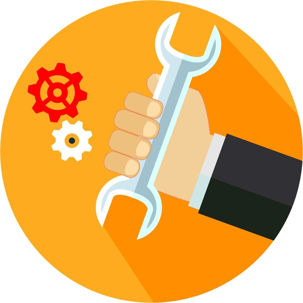Work solving concept illustration with wrench in hand Free download vector