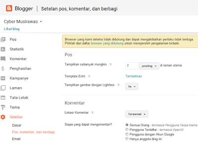 Cara setting Blogger menu Pos, Komentar dan Berbagi