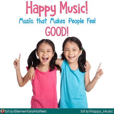 "Happy Music! This post discusses the effect music has on emotions, and suggests playing happy music in the classroom. It includes a freebie list of ""feel good"" music."