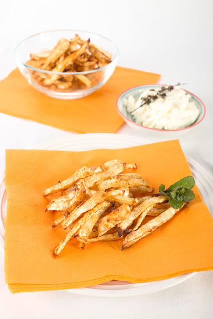 Sellerie- Pommes aus dem Backofen. Rezepte für Ofengemüse. Edyta Guhl.