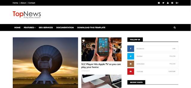 Top News - Responsive News & Magazine Blogspot Template Free Download