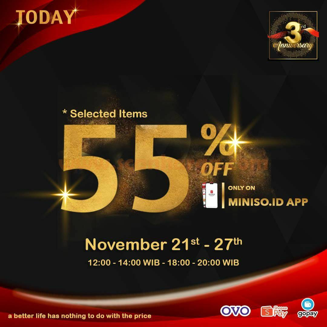 Promo Miniso 3RD Anniversary Disc Up to 50% - 55% Off