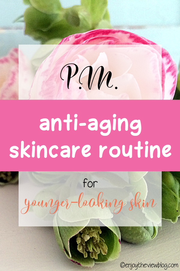"""Infographic showing a pink flower with a text overlay saying """"P.M. anti-aging skincare routine for younger-looking skin"""""""