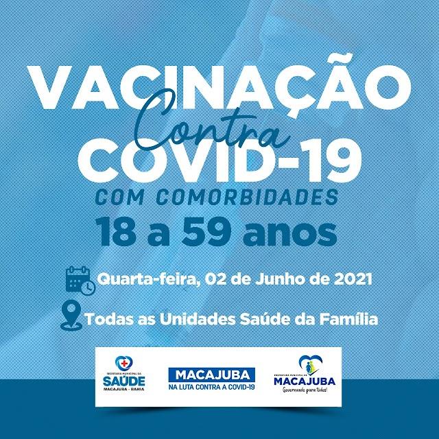 Macajuba inicia vacinação contra covid para pessoas a partir de 18 anos com comorbidades