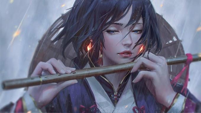 Jovem Garota Tocando Flauta