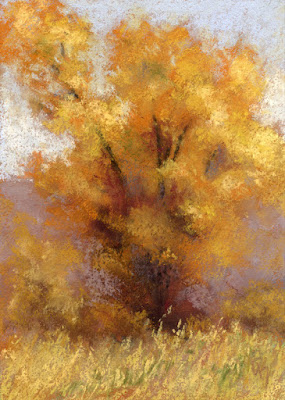 art painting landscape pastel cottonwood tree autumn fall foliage