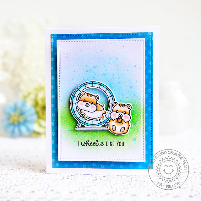 Sunny Studio Stamps: Happy Hamsters Stitched Rectangle Dies Hamster Themed Card by Kay Miller