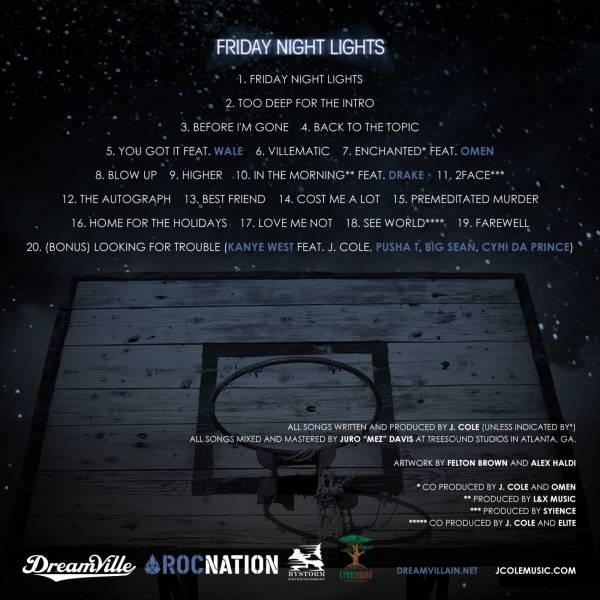 J Cole Friday Night Lights Track List