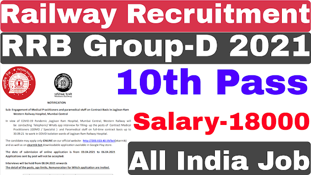 Railway Group-D Recruitment 2021 | RRB Group-D Recruitment 2021| 10th Pas