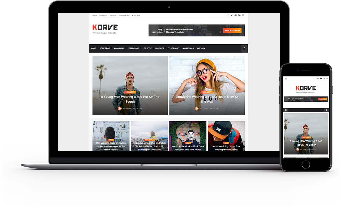Korve - Premium Blogger Template Free Download.