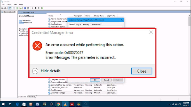 Credential Manager Error 0x80070057 on Windows 10 FIX
