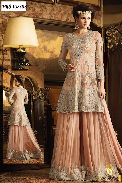 Latest Wedding Bridal Pakistani Palazzo Salwar Suits for Bride Online Shopping with Cheap Cost at Pavitraa
