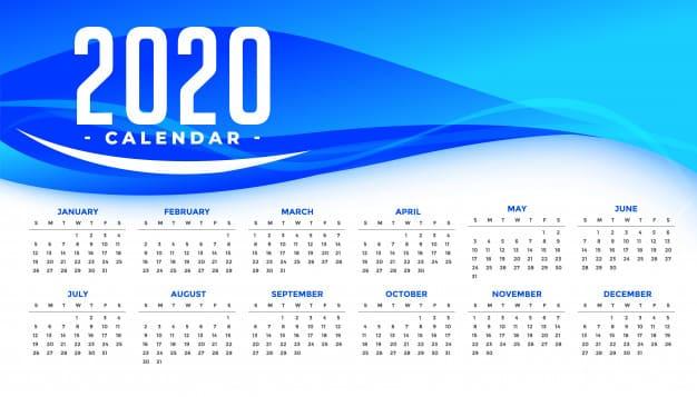Calendario 2020 gratis con ondas azules (Plantilla)