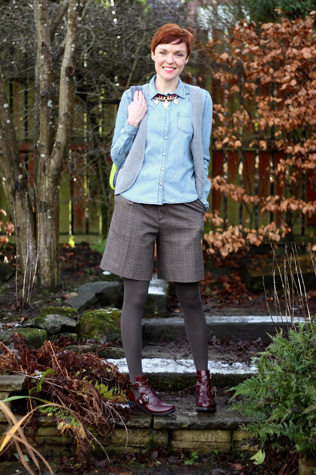 Fake Fabulous | Androgynous style. Shorts and chambray in Winter.