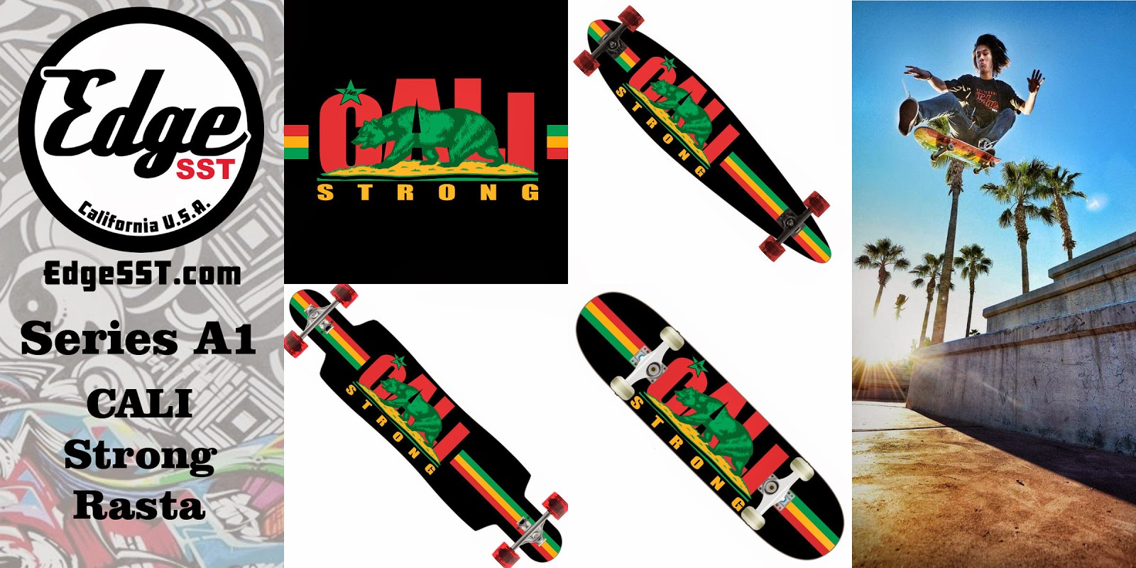 Edge SST Skateboard Series A1: CALI Strong Rasta Skateboard