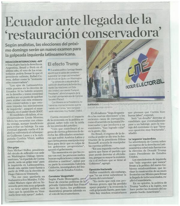 Ecuador ante la llegada de la Restauración Conservadora Paolo Moncangatta