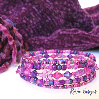 magenta bead stacked bracelets for women rava designs