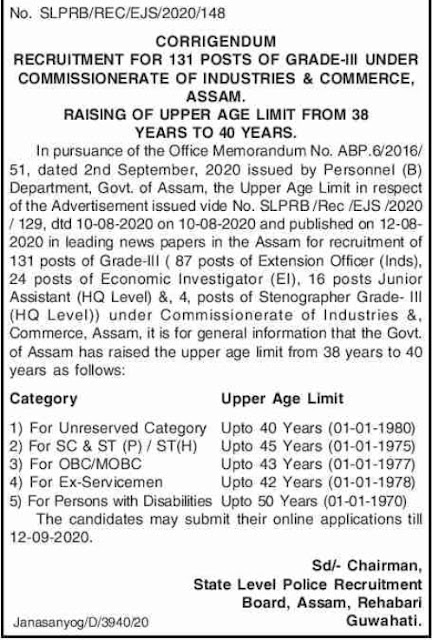 Industries and Commerce Assam Upper Age Limit