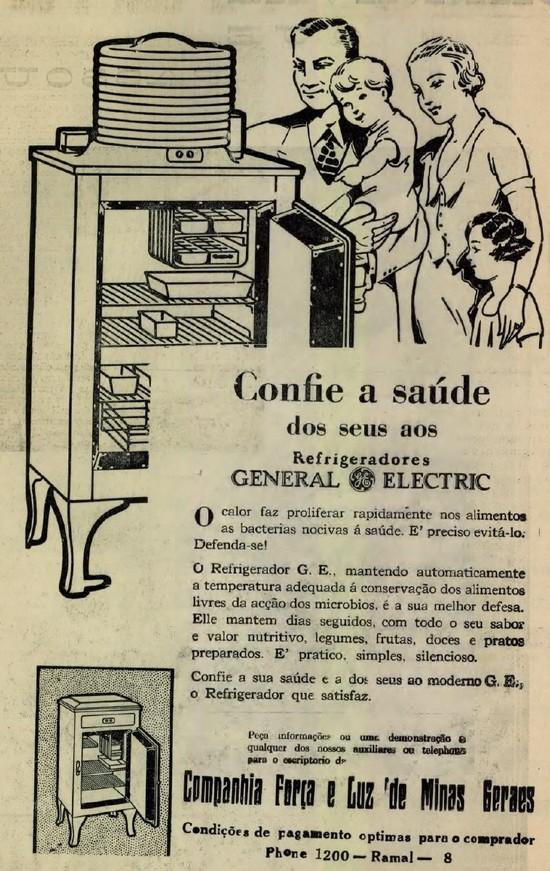Propaganda antiga da General Eletric promovendo seu refrigerador nos anos 30