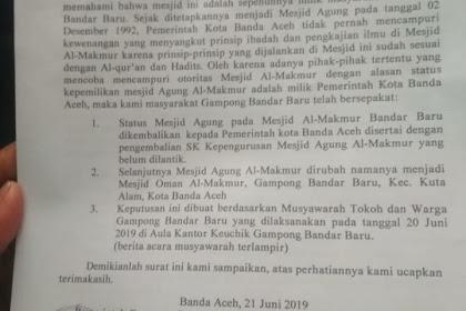 """""""Meudalèh"""" Keu Aswaja, Seumijid Oman Pulang Statuih Masjid Agung Keu Pemkot Banda Aceh"""