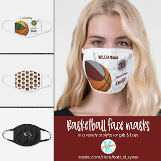Basketball themed sports face masks by katzdzynes