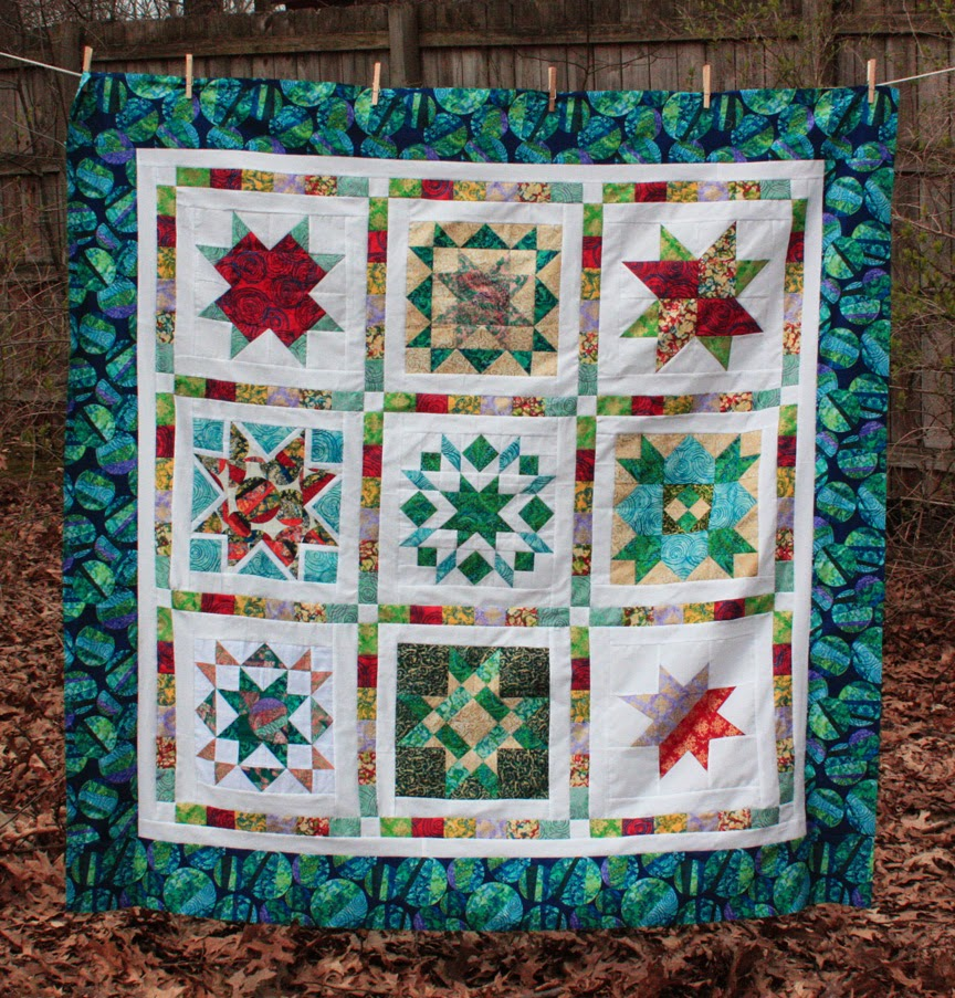 Star Blog Hop quilt top by Inspired by Fabric
