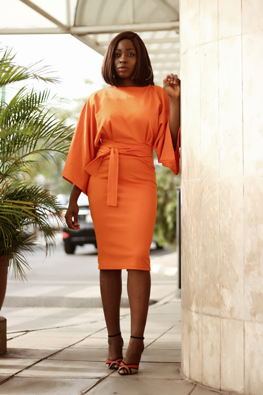 pencil dress, orange, midi dress, body con dress, cinched waist