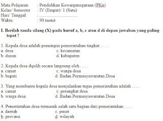Soal UAS UKK PKN Kelas 4 SD Semester 1