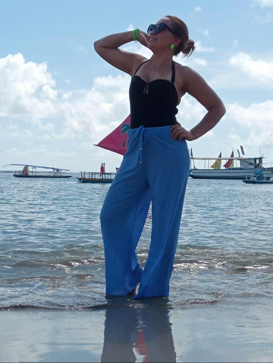 Calça pantalona lux (azul)