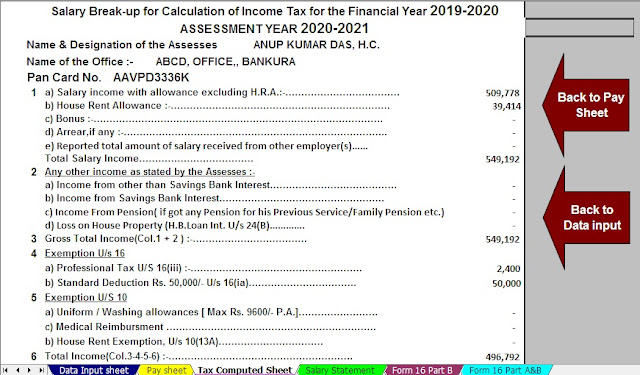 Download Automated All in One TDS on Salary for West Bengal Govt Employees for the Financial Year 2019-2020 and Assessment Year 20120-2021 As per the New 6th Pay Commission 2019 (ROPA -2019) 4