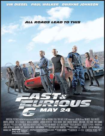 Poster Of Fast & Furious 6 2013 Dual Audio 600MB BRRip 720p HEVC Free Download Watch Online downloadhub.in