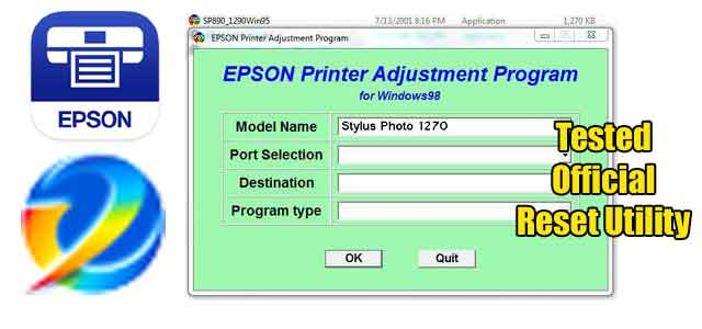 Epson Stylus Photo 1270 Adjustment program (Reset Utility) Free Download