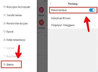Menonaktifkan iklan di File Manager Xiaomi