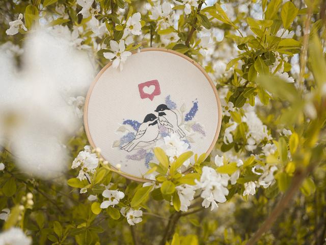 modèle de broderie avril Lilac birds - Marion Romain