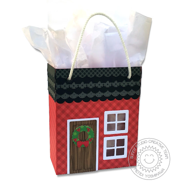 Sunny Studio Stamps: Sweet Treats Holiday Christmas Gift Bag with House Add-on (using Heroic Halftones, Classic Gingham & Amazing Argyle 6x6 Paper)