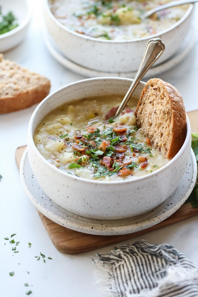 Creamy Potato Leek Soup with Bacon Recipe June 2021