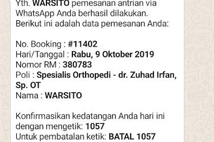 Pengalaman Daftar Kontrol di RS Kustati Secara Online Via WhatsApp