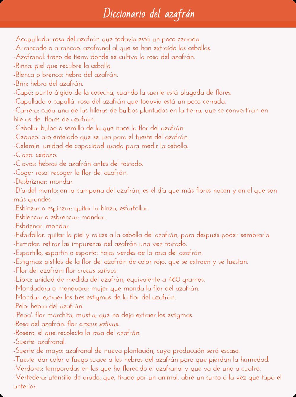 Diccionario del azafrán
