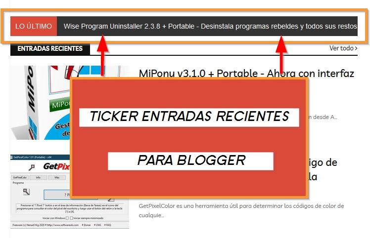 Widget para blogger: Ticker entradas recientes