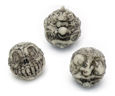 Glow in the Dark Madballs Slobulus, Horn Head & Skull Face Vinyl Figures by Mondo